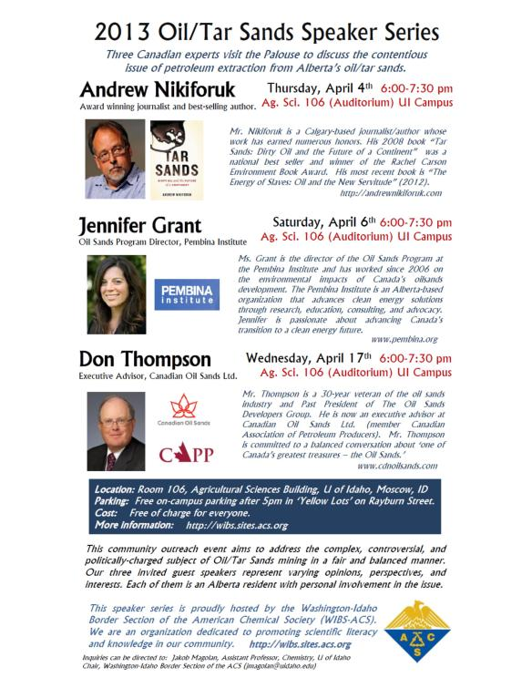 Oil Sands Speaker Series Promotional Poster