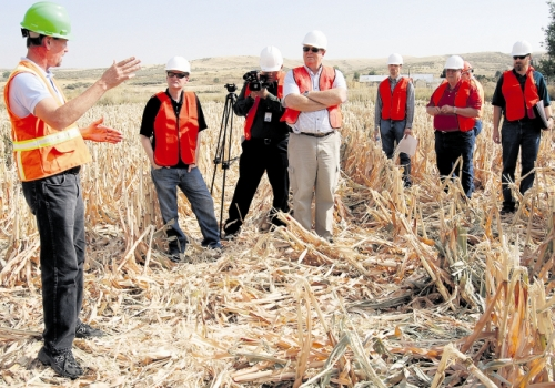 Snake River Oil and Gas officials explain details of gas exploration in southwest Idaho last fall, during a legislative tour.  Many farmers and ranchers stand to benefit from the drilling and exploration taking place in the region (Capital Press/industry photo).