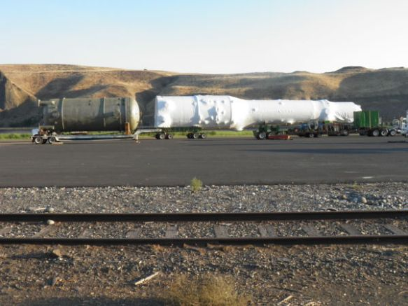 A megaload waits on Monday at the Port of Wilma (Lewiston Tribune/Elaine Williams photo).