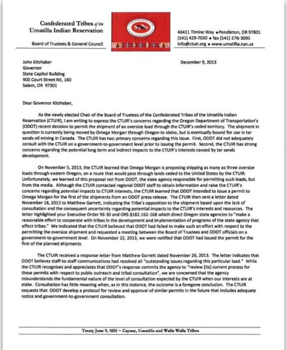 CTUIR Chair Burke Megaloads Letter to Governor Kitzhaber 1