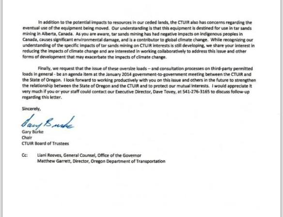 CTUIR Chair Burke Megaloads Letter to Governor Kitzhaber 2