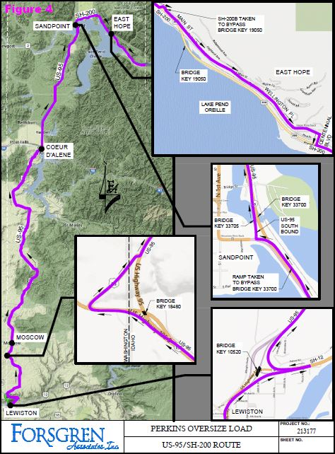 Perkins Oversize Load US 95 Idaho 200 Route