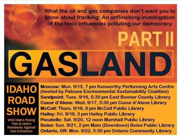 Gasland 2 Idaho Road Show Flyer