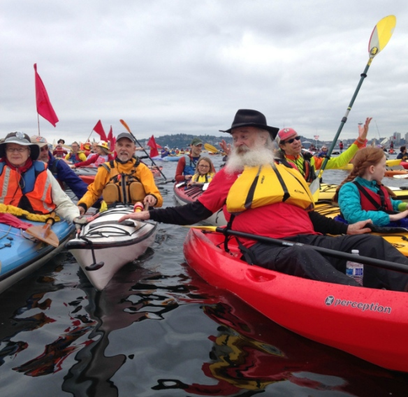 Herb Goodwin & Seattle area kayaktivists (Katie Herzog photo)