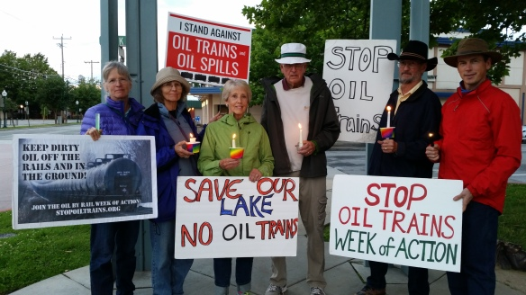 Candlelight vigil and march to honor Lac-Mégantic oil train victims, led by Wild Idaho Rising Tide from Farmin Park, Sandpoint, on Tuesday evening, July 12, 2016