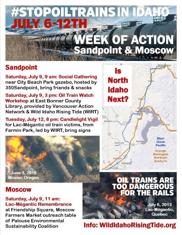 Stop Oil Trains in Idaho Week of Action Flyer